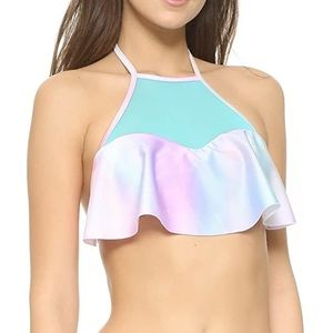 WILDFOX Swim Pastel Tie Dye Halter Bikini Top